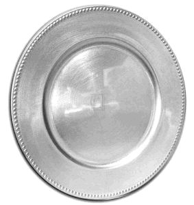Where to find PLATE  CHARGER ACRYLIC  SILVER 13  BEADE in Poughkeepsie
