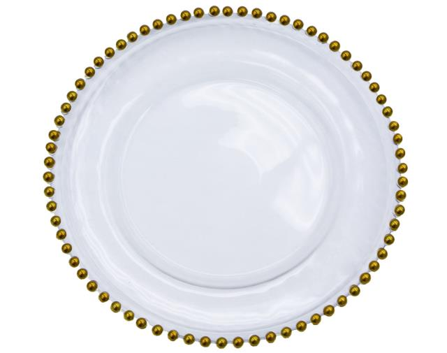 Where to find PLATE CHARGER 13 GLASS GOLD BEADED in Poughkeepsie